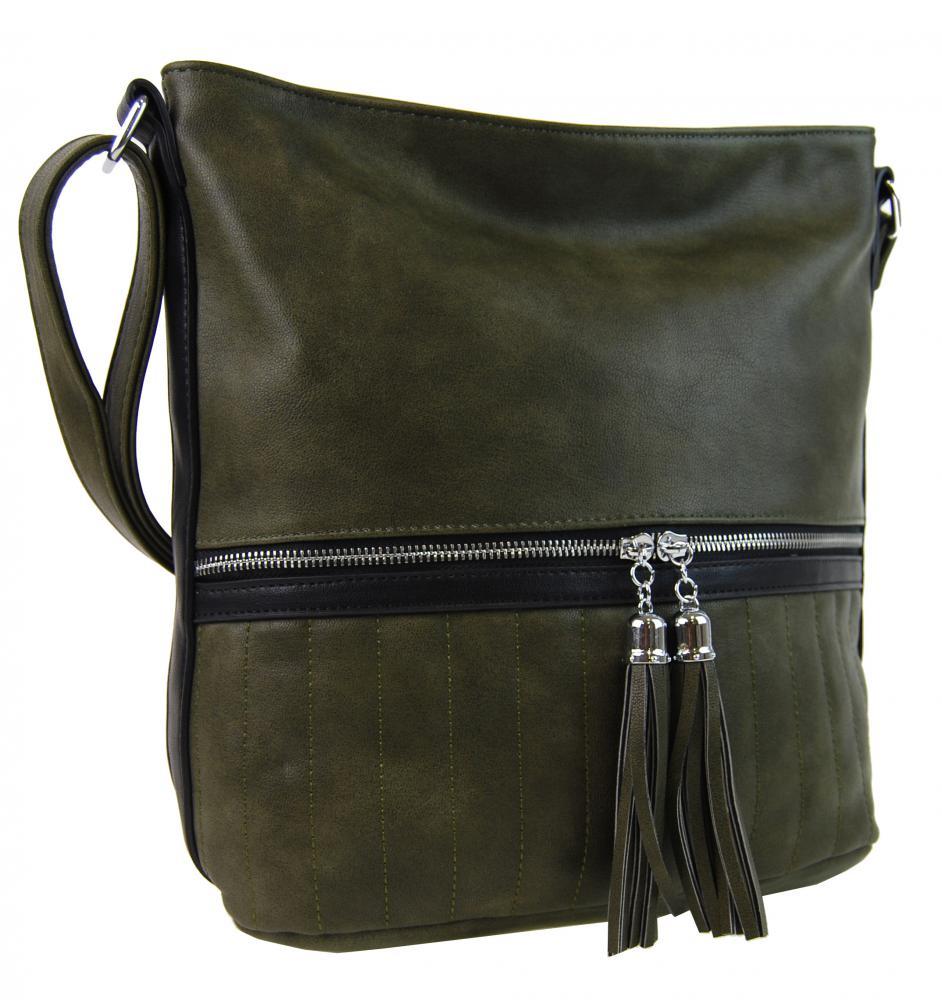 Elegantná dámska crossbody kabelka NH6047 tmavo zelená