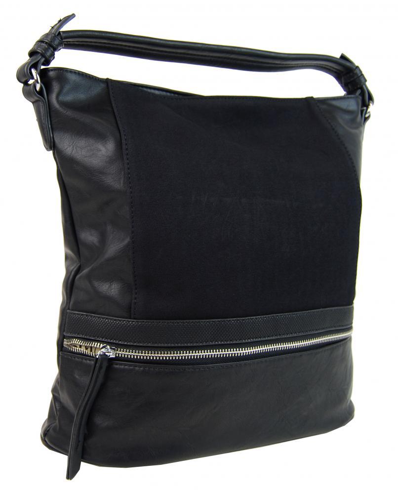 Moderná čierna dámska kombinovaná kabelka NH6058