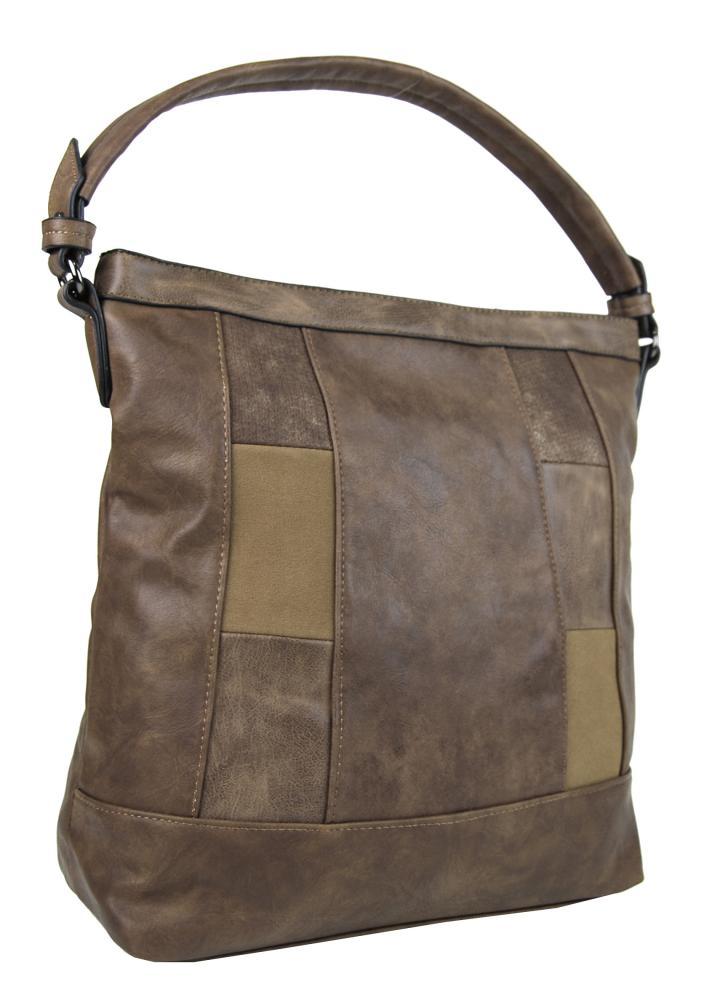 Elegantná kombinovaná dámska kabelka so vzorom NH6071 prírodná hnedá