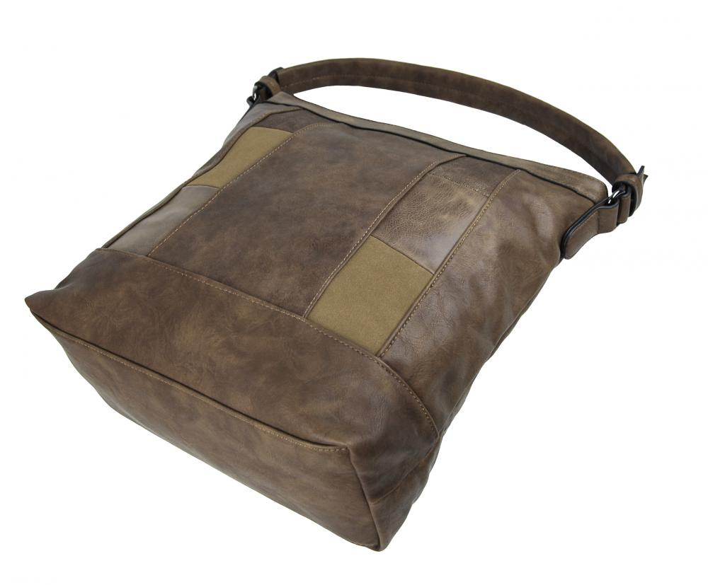 Elegantní kombinovaná dámská kabelka se vzorem NH6071 přírodní hnědá