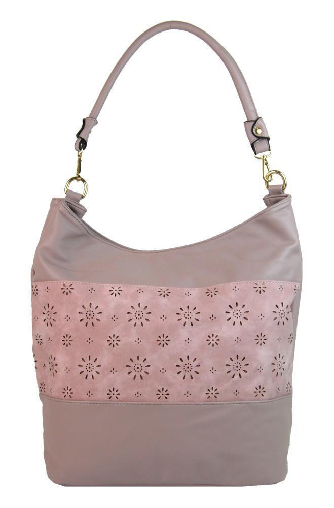 Kombinovaná dámská kabelka se vzorem NH6075 světlá starorůžová