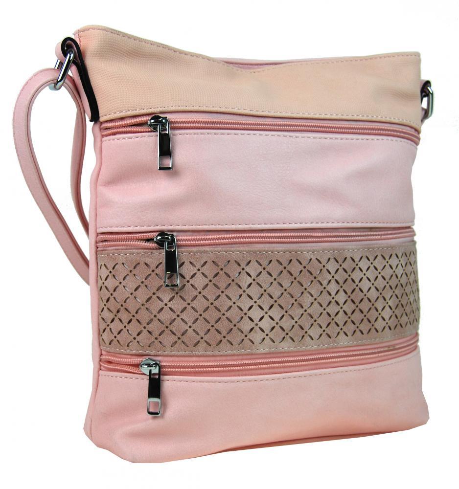 Dámska crossbody kabelka s tromi zipsami NH6099 ružová