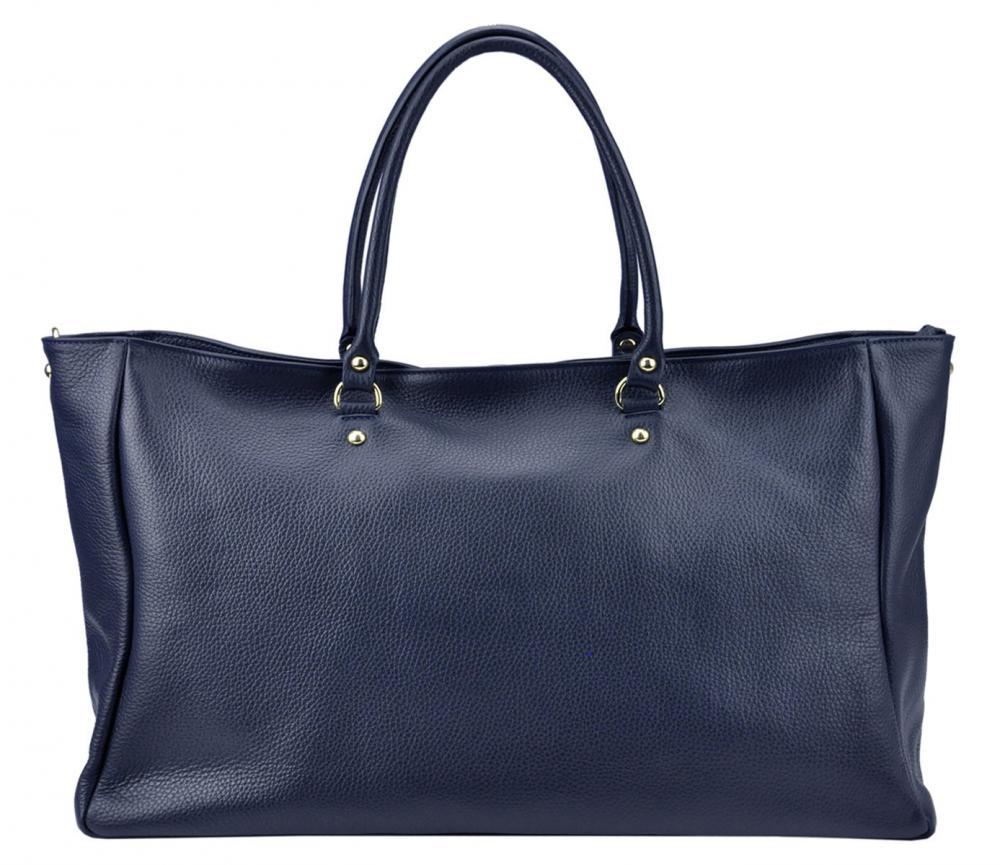Veľká kožená dámska kabelka Patrizia Piu námornícka modrá