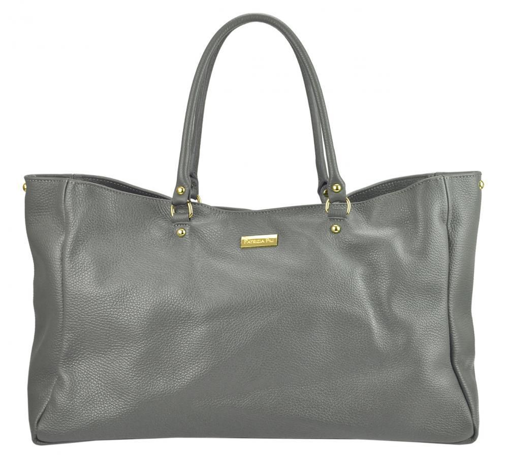 Velká kožená dámská kabelka Patrizia Piu tmavě šedá