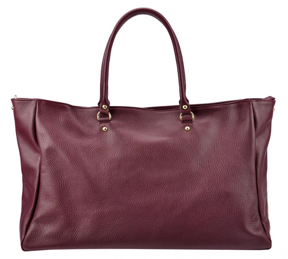 Veľká kožená dámska kabelka Patrizia Piu bordová
