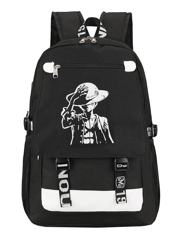 Ohazo svítící černý studentský batoh s USB a audio portem