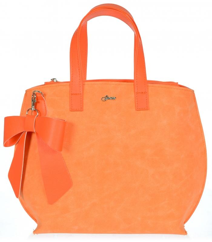 GROSSO Dámská kabelka oranžová s mašlí S739