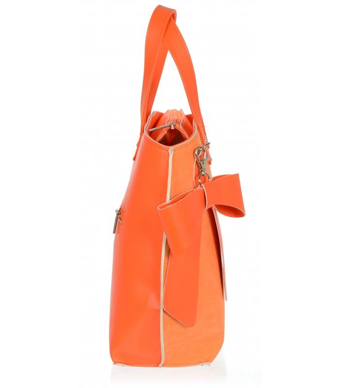 Oranžová dámská kabelka s mašlí S739 GROSSO