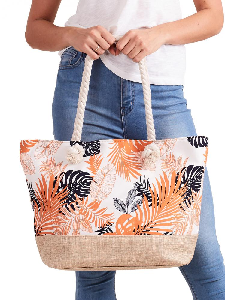 Letná ľahká plážová taška oranžová s lístkami XP-B