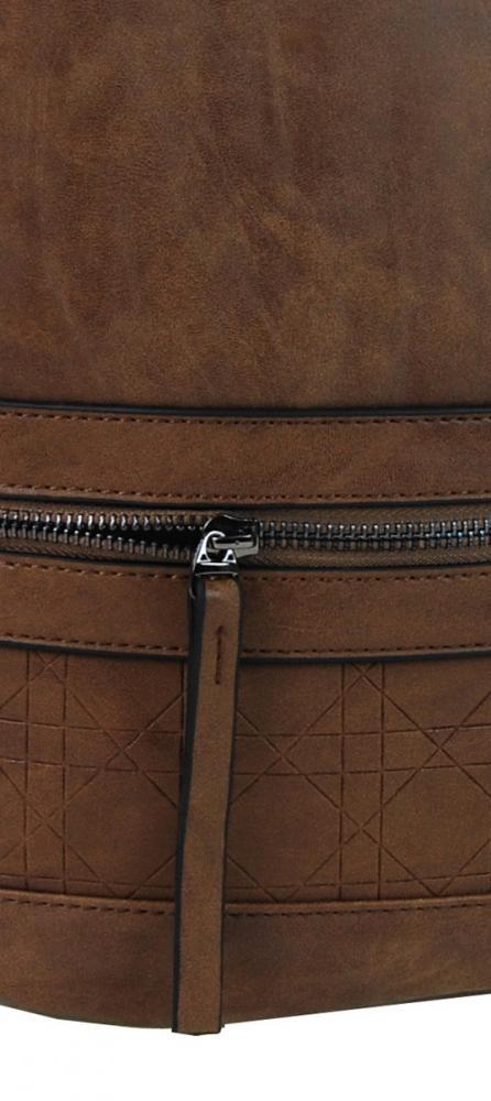 Asymetrická dámská broušená crossbody kabelka 16011 velbloudí hnědá