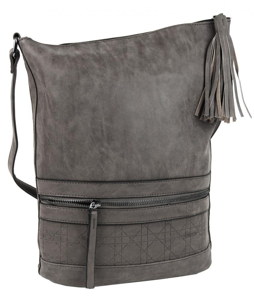 Asymetrická dámská broušená crossbody kabelka 16011 středně šedá