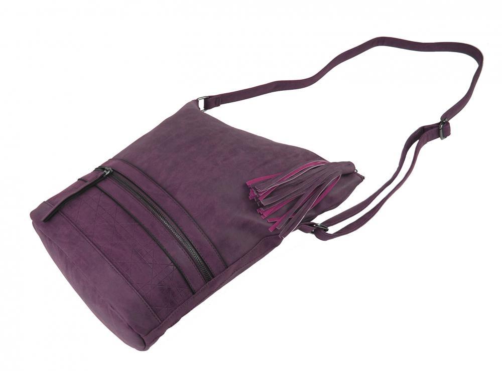 Asymetrická dámská broušená crossbody kabelka 16011 vínová