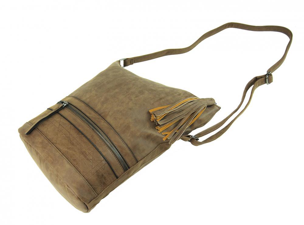Asymetrická dámska brúsená crossbody kabelka 16011 prírodná hnedá