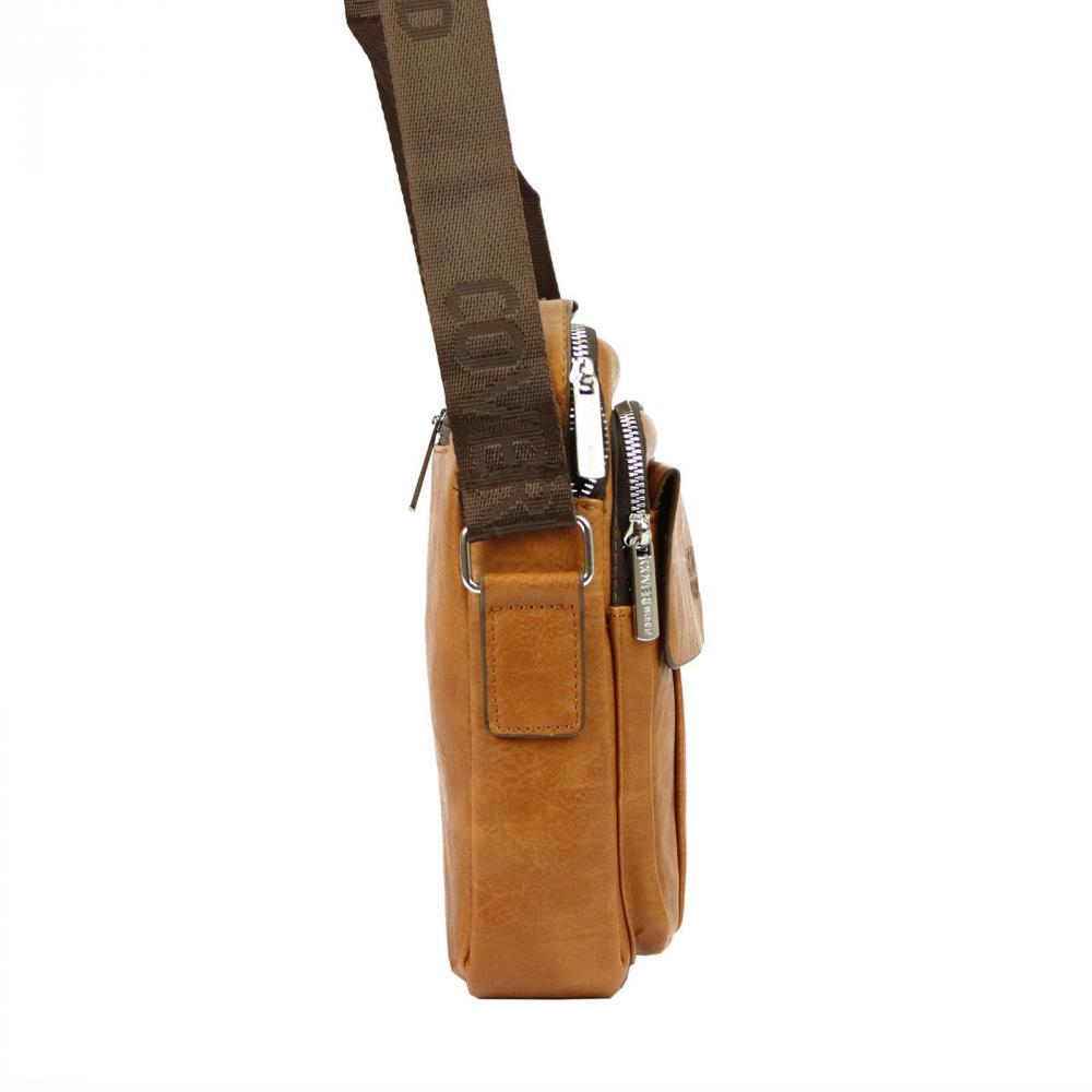 Stredne veľká hnedá pánska koženková crossbody taška 21x26 cm
