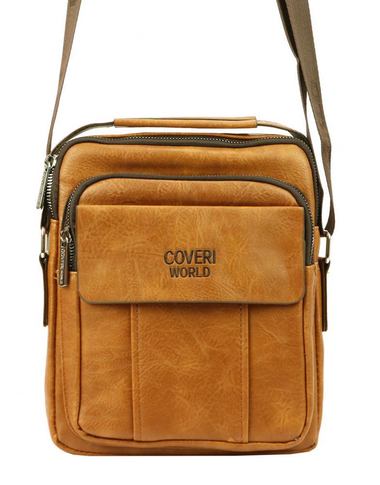 Středně velká koňakově hnědá pánská koženková crossbody taška 21x26 cm
