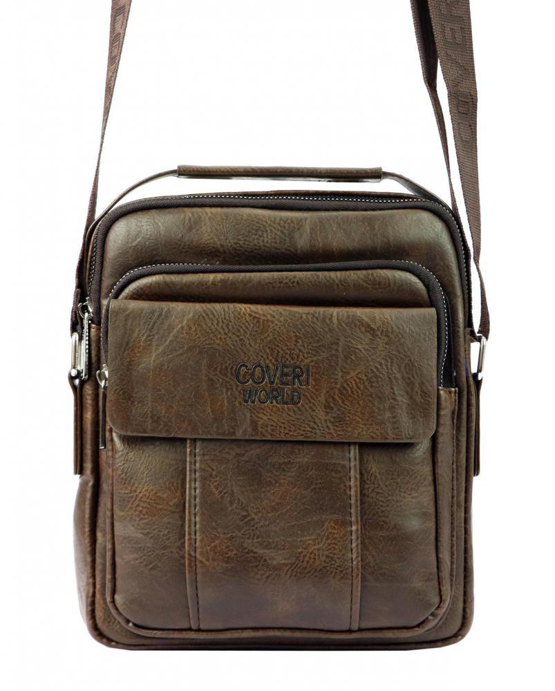Středně velká hnědá pánská koženková crossbody taška 21x26 cm