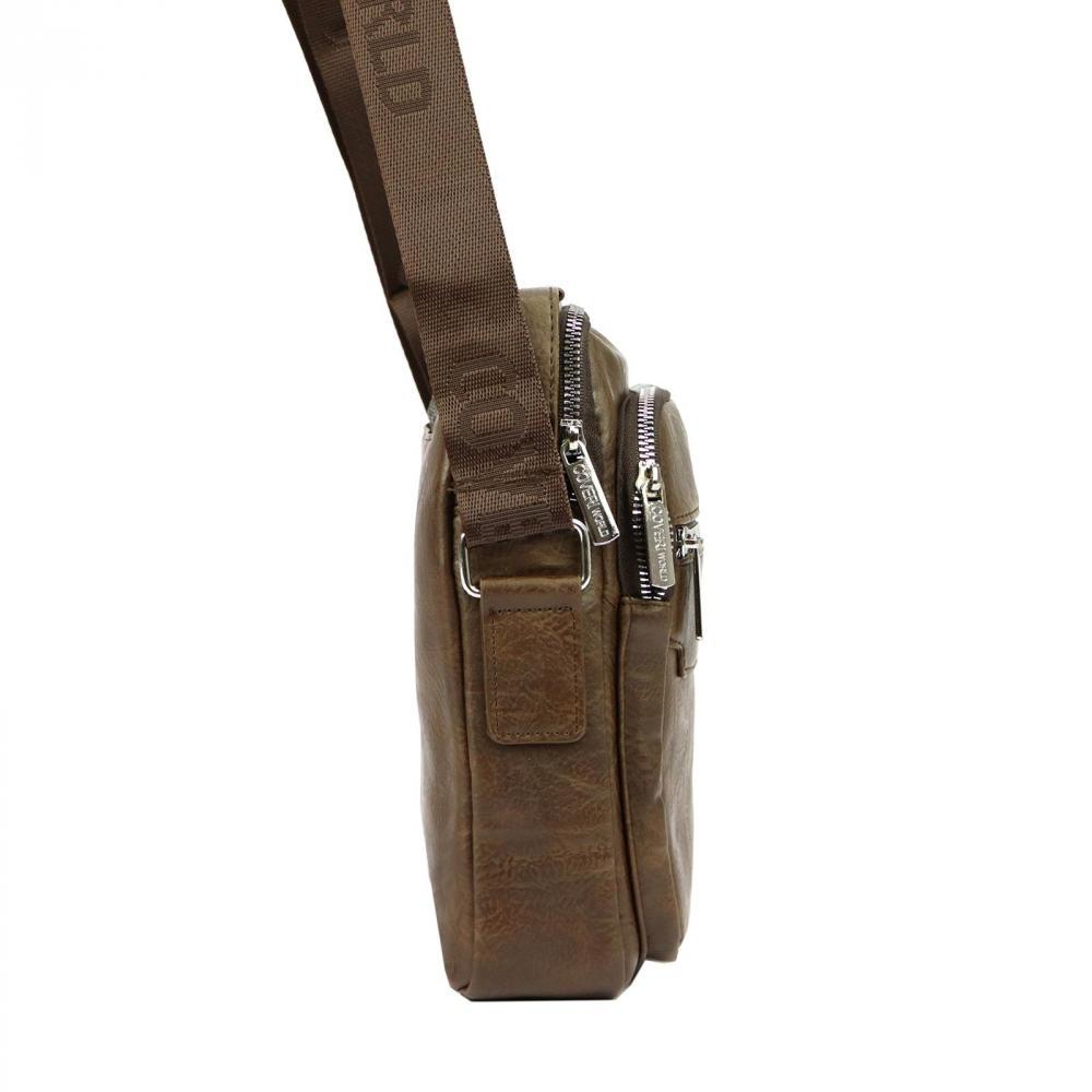 Středně velká koňakově hnědá pánská koženková crossbody taška 21x25 cm