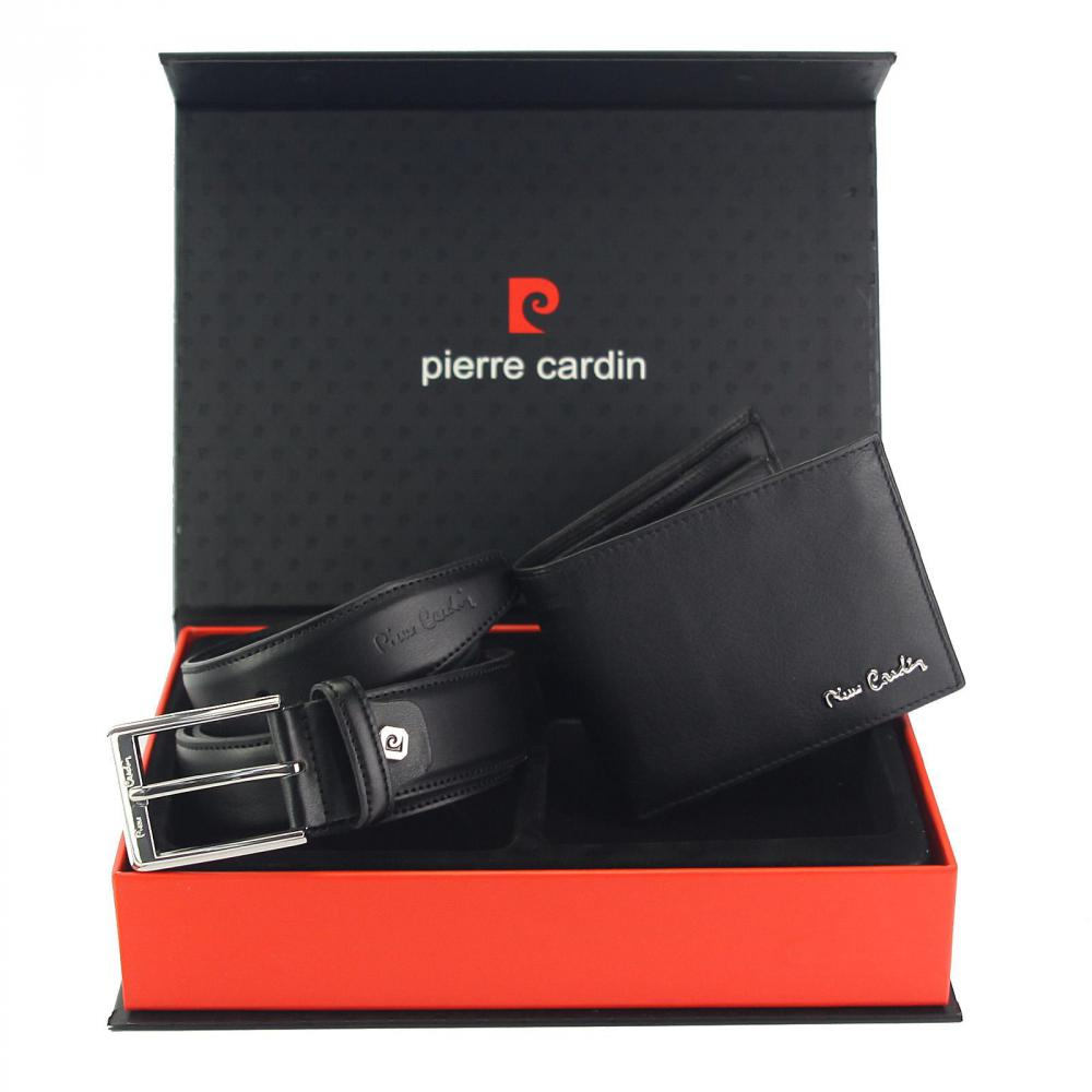 Pierre Cardin Dárková pánská luxusní sada černý kožený opasek a peněženka