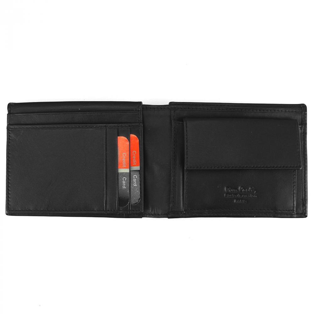Pierre Cardin Darčeková pánska luxusná sada čierny kožený opasok a peňaženka