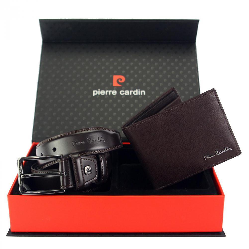 Pierre Cardin Dárková pánská luxusní sada tmavě hnědý kožený opasek a peněženka