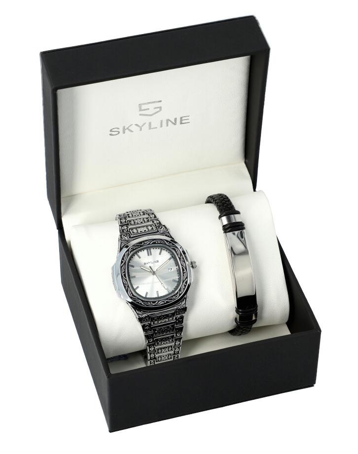 SKYLINE pánska darčeková sada hodinky s náramkom SH0055 strieborná