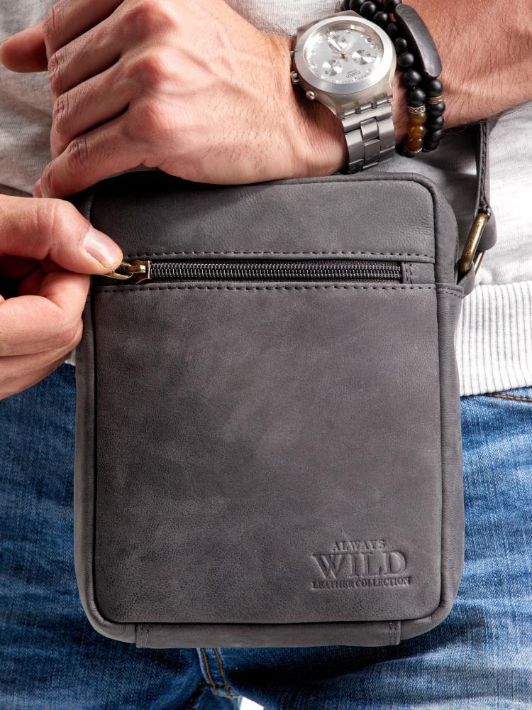WILD Kožená pánska crossbody taška tmavo šedá 15x19x5 cm