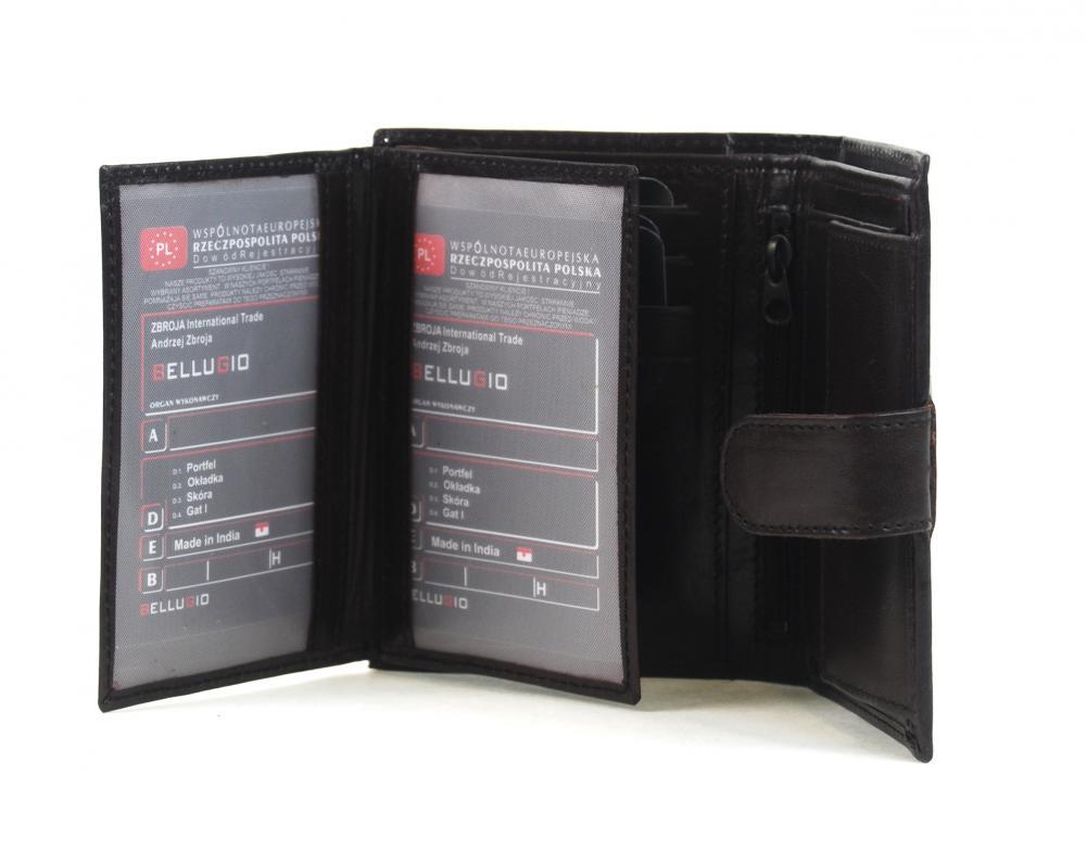 Bellugio čokoládově hnědá pánská kožená peněženka v dárkové krabičce