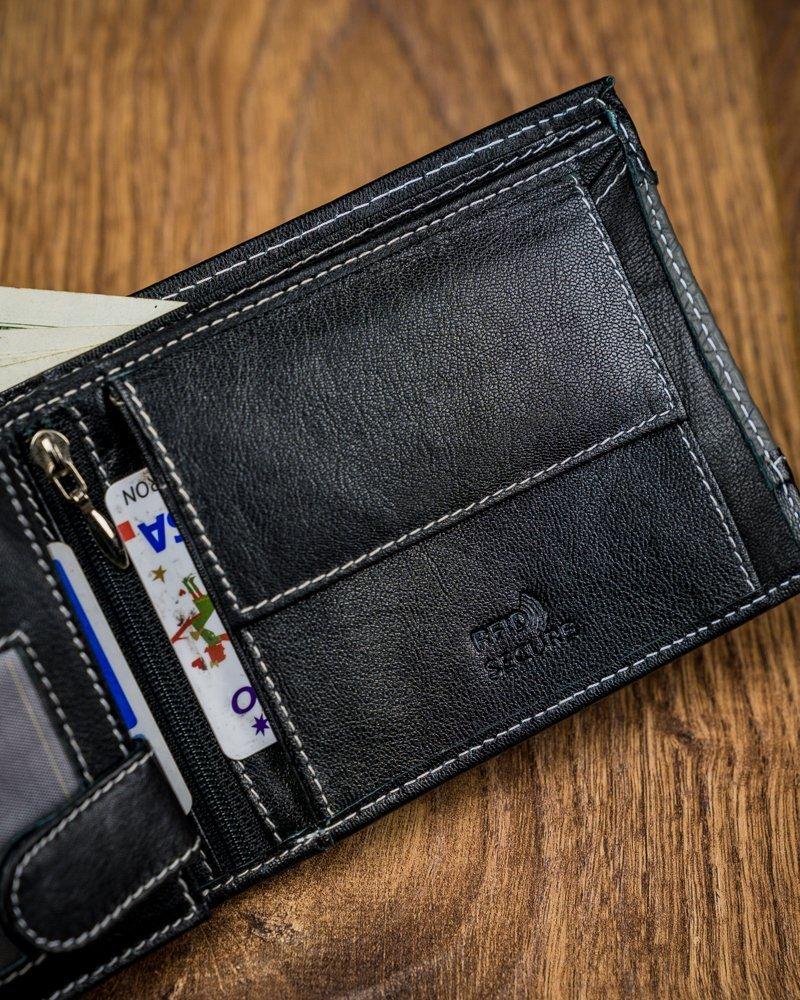 Čierna pánska kožená peňaženka RFID v krabičke LOREN