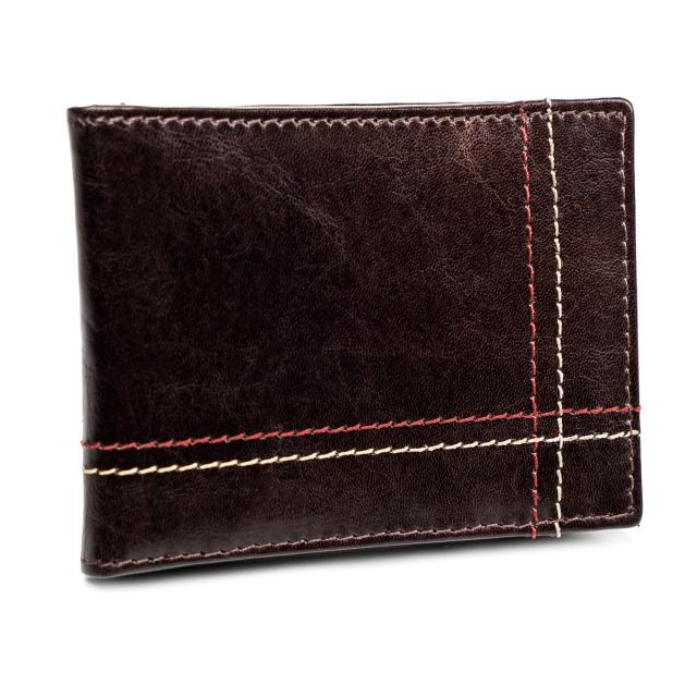 Kožená hnedá malá tenká peňaženka iba na karty RFID v krabičke ALWAYS WILD