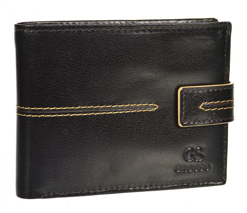 Čokoládově hnědá pánská kožená peněženka RFID se zápinkou v krabičce GROSSO