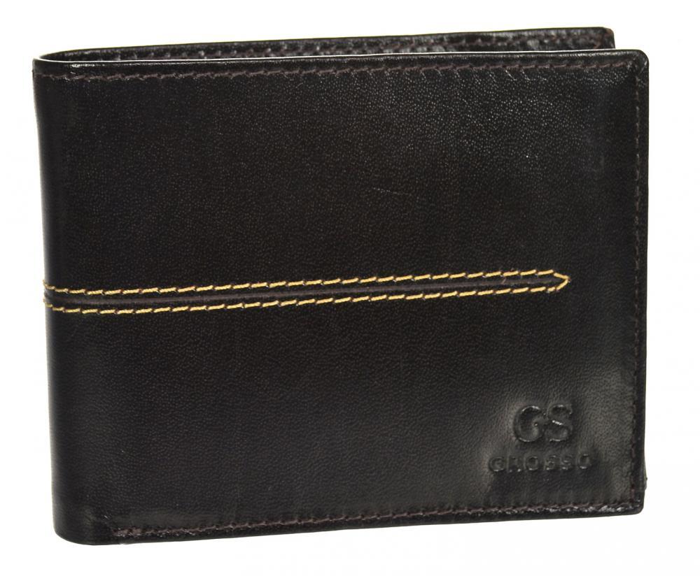 Čokoládově hnědá pánská kožená peněženka RFID v krabičce GROSSO