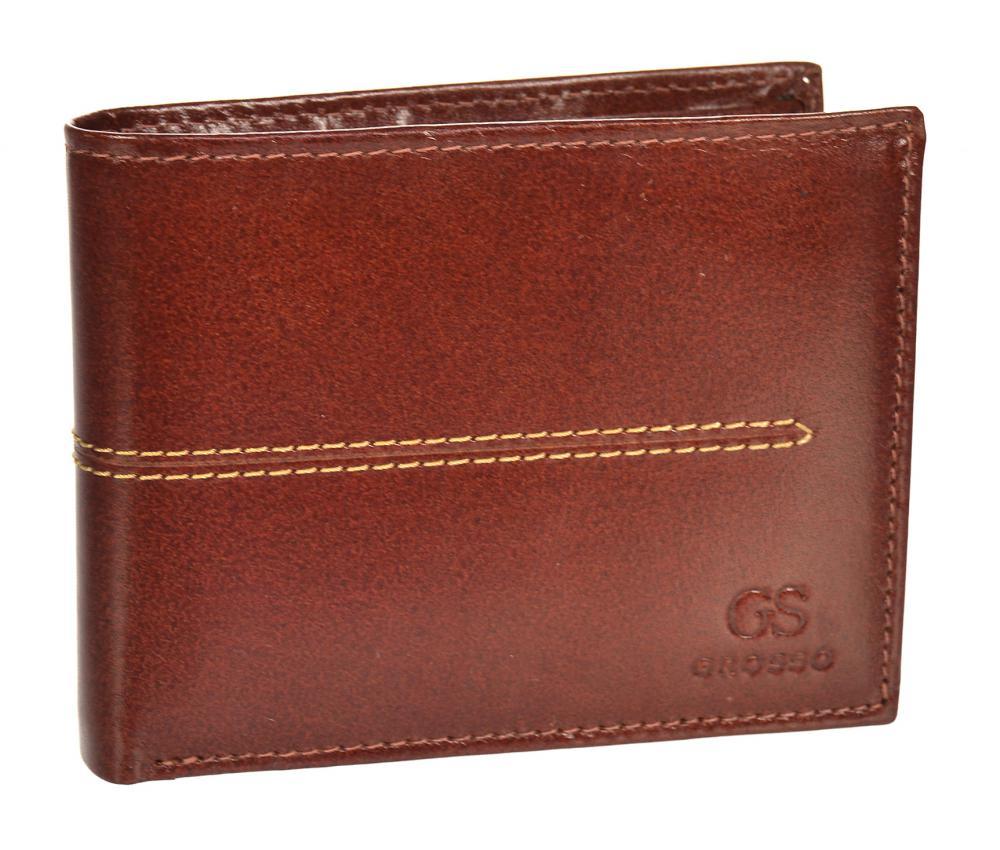Koňakově hnědá pánská kožená peněženka RFID v krabičce GROSSO