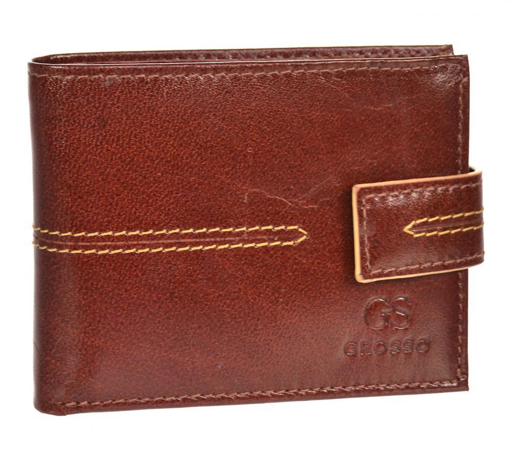 Koňakově hnědá pánská kožená peněženka RFID se zápinkou v krabičce GROSSO