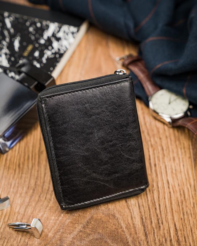 Kožená černá menší pánská peněženka RFID v krabičce ALWAYS WILD