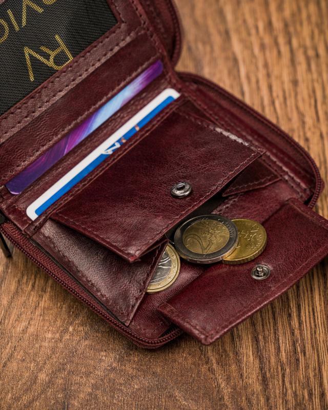Kožená vínová menšia pánska peňaženka RFID v krabičke ALWAYS WILD