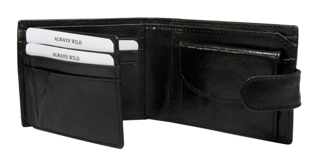 Kožená čierna menšia pánska peňaženka RFID v krabičke ALWAYS WILD