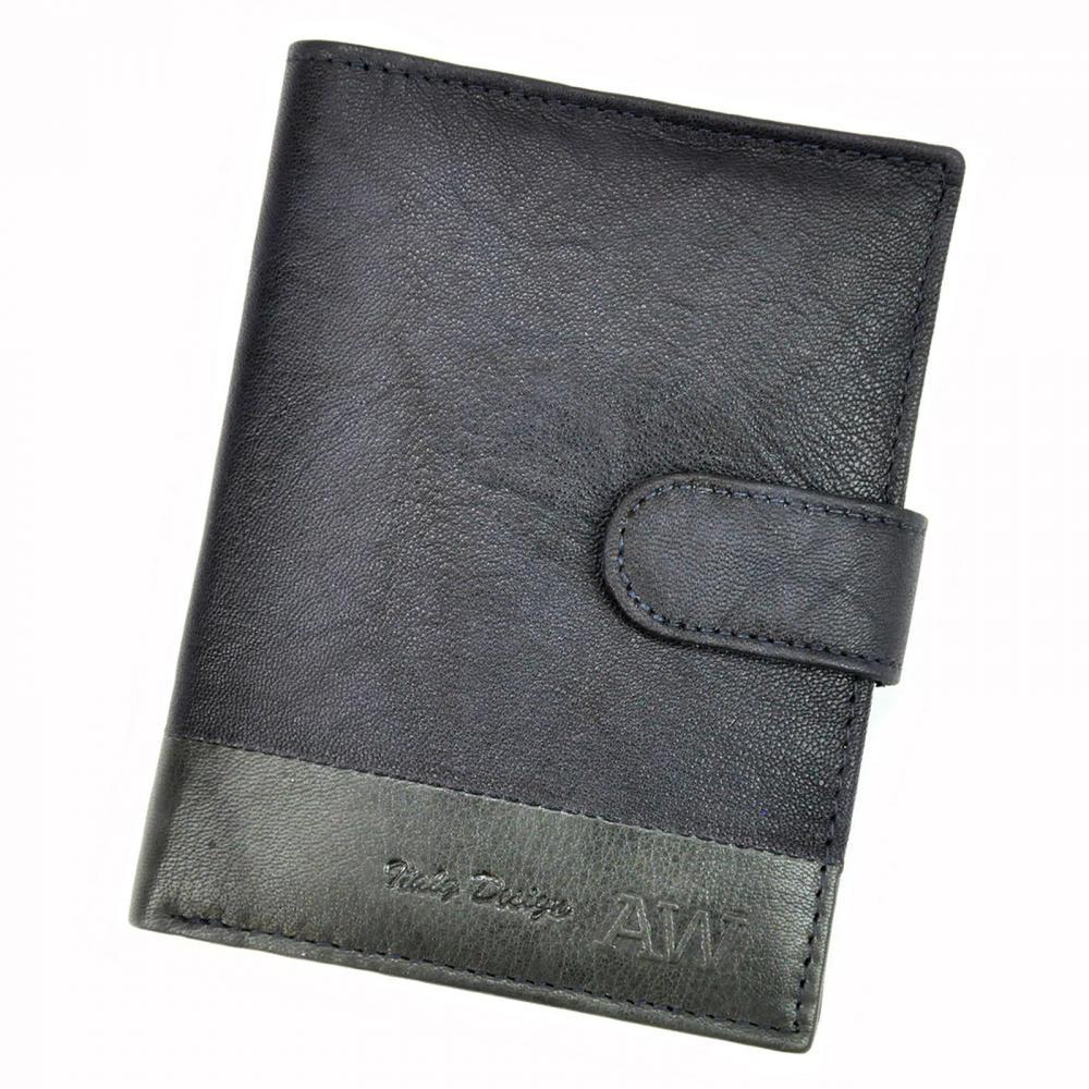 Kožená modrá pánská peněženka RFID WILD