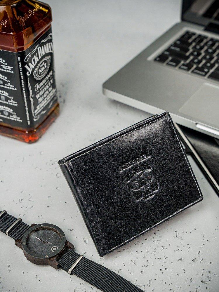 Kožená černá RFID pánská peněženka v krabičce WILD