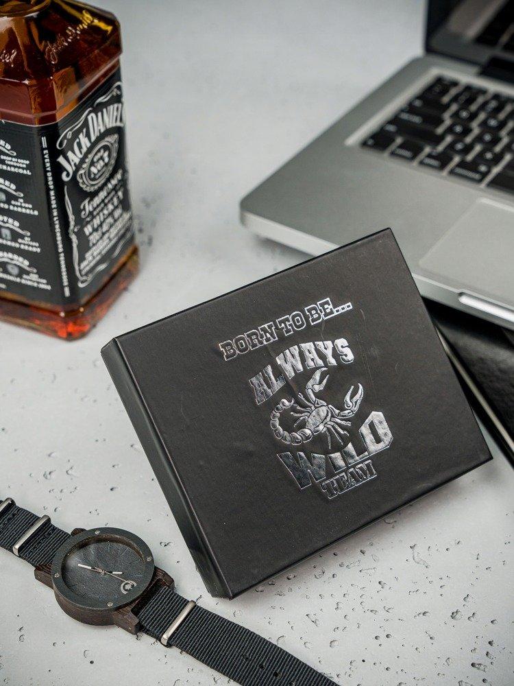 Kožená čierna RFID pánska peňaženka v krabičke WILD