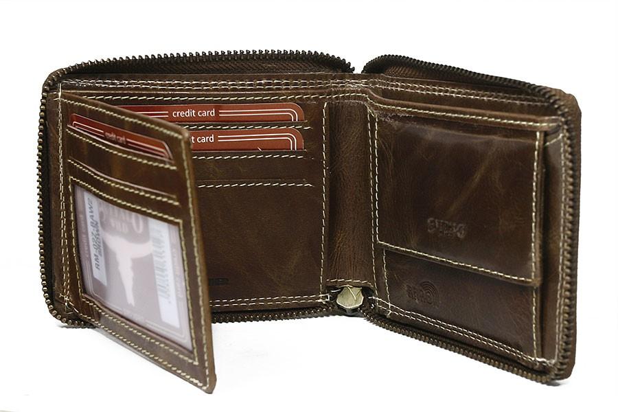 Hnedá pánska kožená peňaženka RFID obvodový zips v krabičke WILD