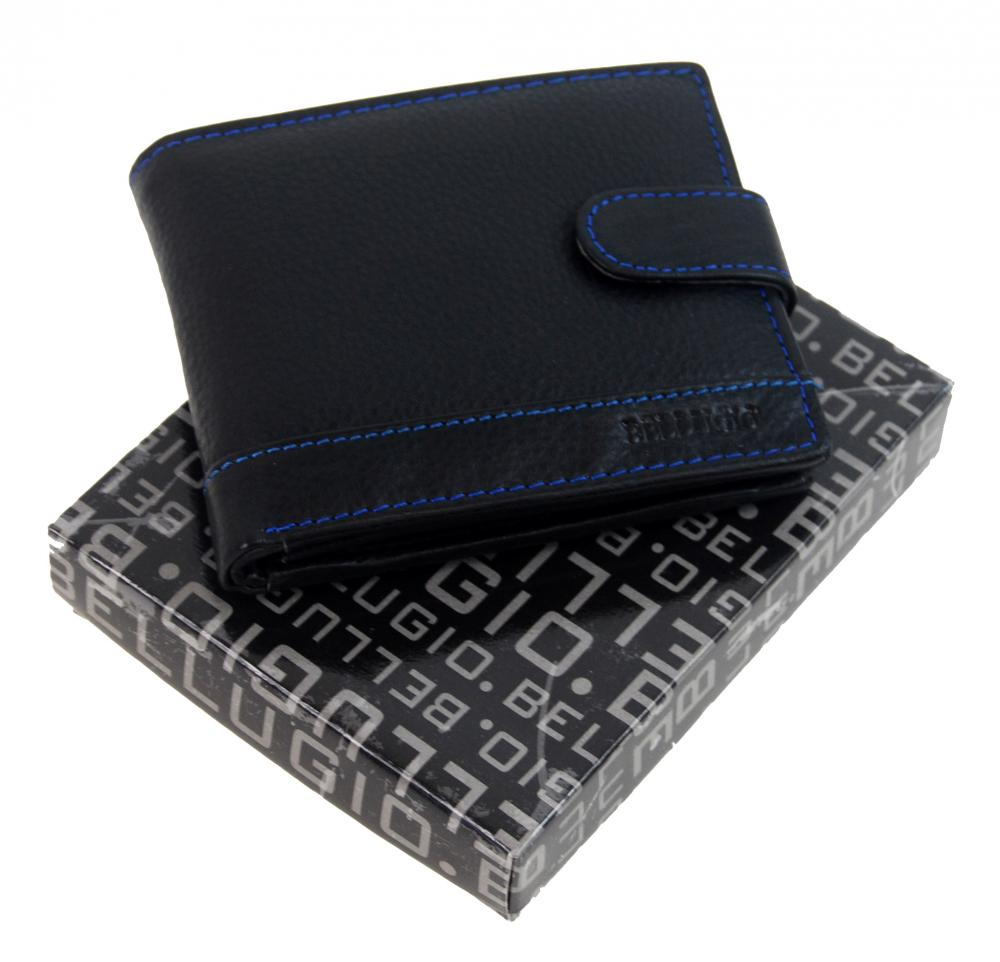 Bellugio Čierna pánska kožená peňaženka s modrým prešitím v darčekovej krabičke