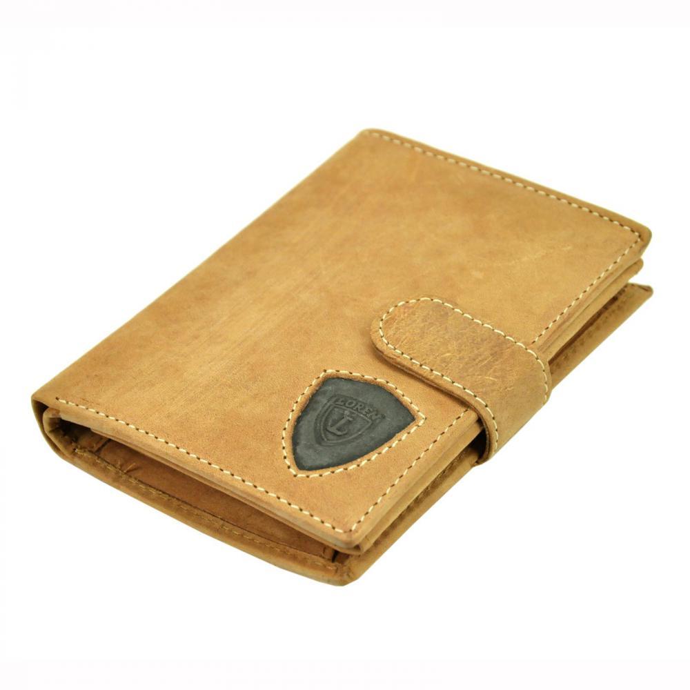 Kožená světle hnědá pánská peněženka RFID Loren