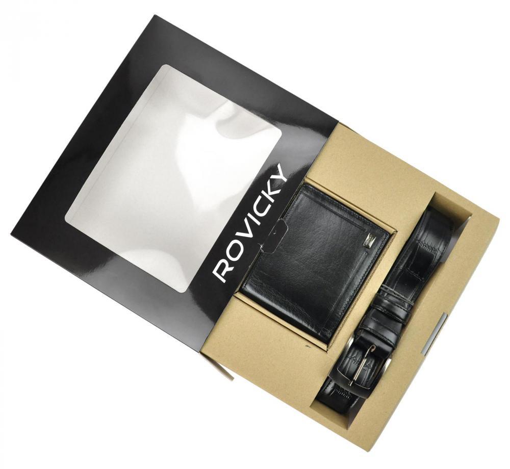 ROVICKY Darčeková pánska luxusná sada kožený opasok a peňaženka