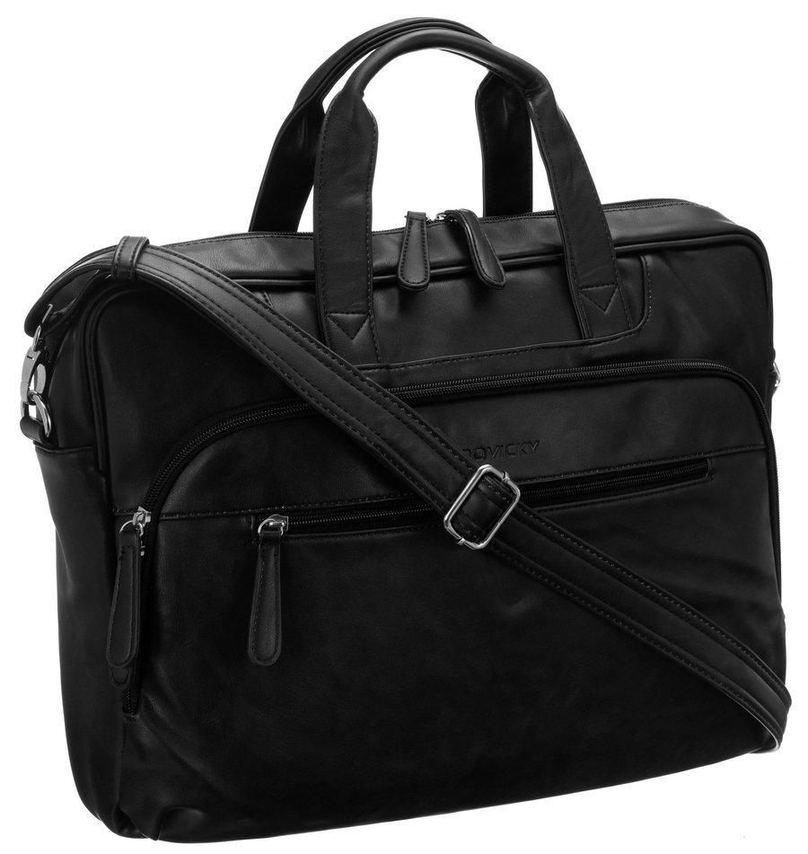 Pánska koženková taška pre notebook 15,6 palca čierna