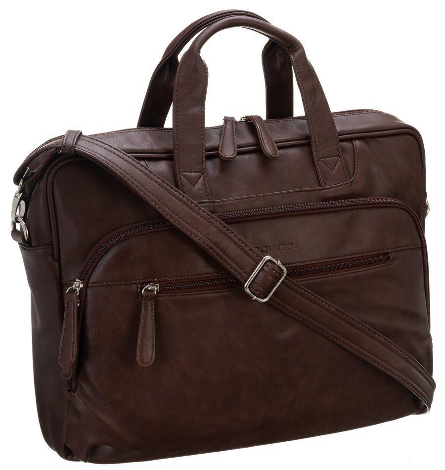 Pánska koženková taška pre notebook 15,6 palca hneda