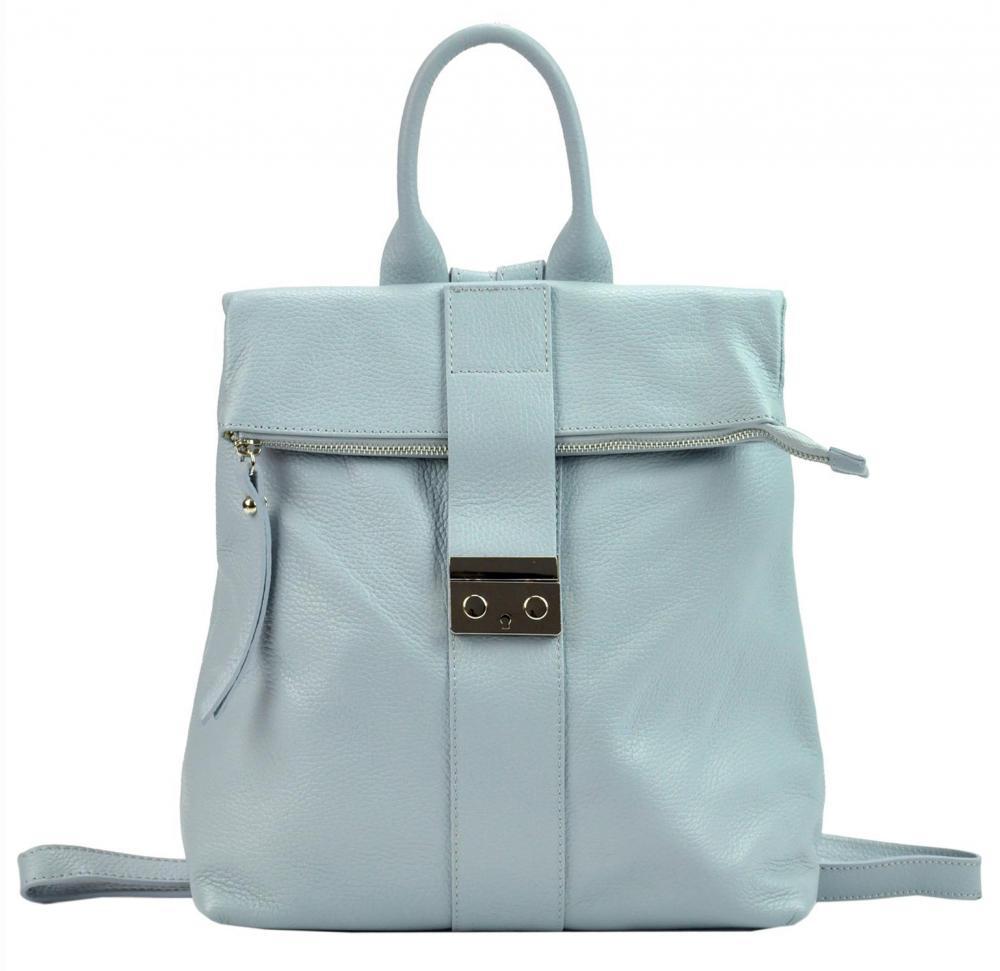 Kožený dámsky módny batôžtek Patrizia Piu svetlo modrý