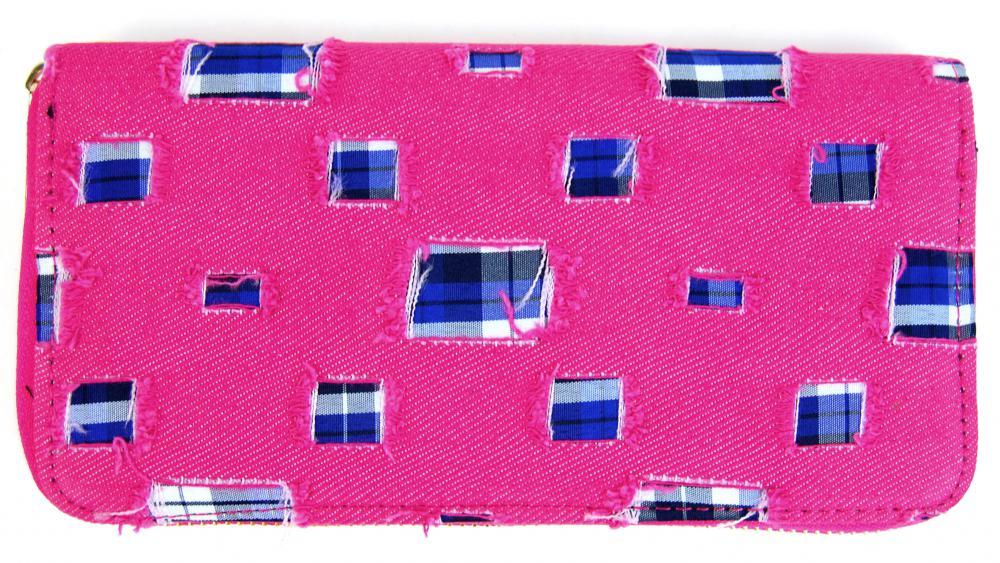 Moderná riflová peňaženka so záplatami T483 ružová