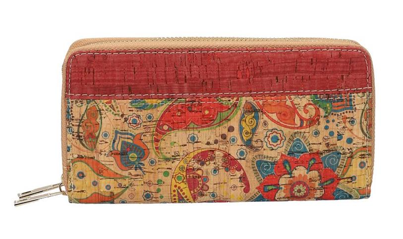 Dámská peněženka v korkovém designu s obvodovými zipy B1765 typ1