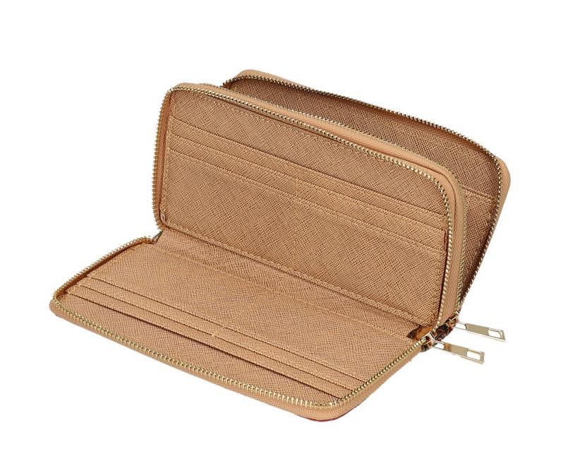 Dámska peňaženka v korkovom dizajne s obvodovými zipsami B1765 typ2