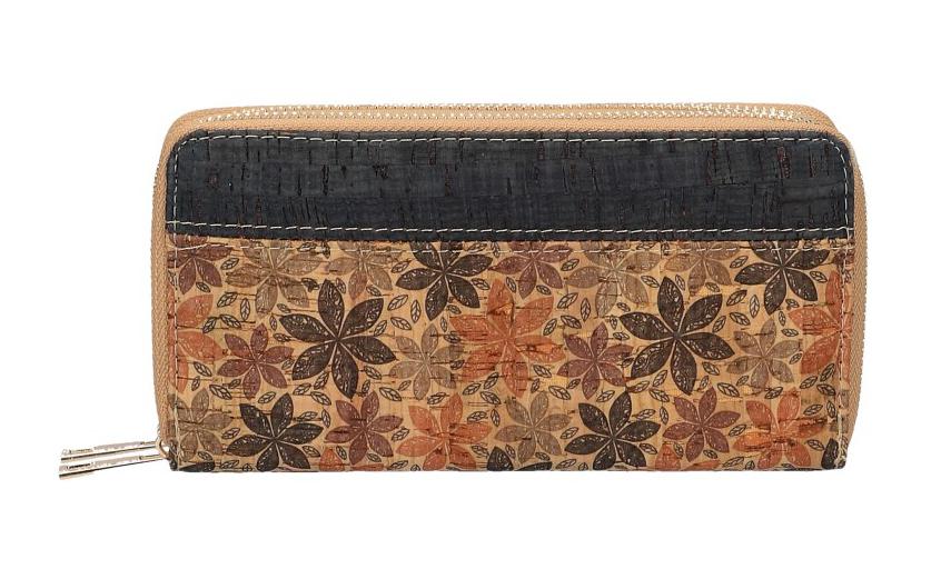 Dámská peněženka v korkovém designu s obvodovými zipy B1765 typ10